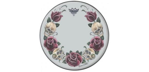 "Schlagzeugfell Tattoo Skyn Suede 13"" Tattoo Rock and Roses TT-0813-AX-T05"