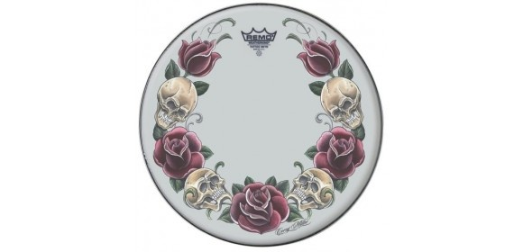 "Schlagzeugfell Tattoo Skyn Suede 14"" Tattoo Rock and Roses TT-0814-AX-T05"