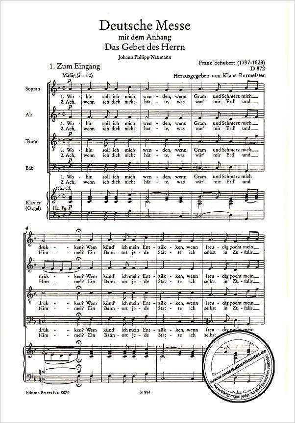 DEUTSCHE MESSE D 872 GCH ORCH - von Schubert Franz - EP 8870 - Noten
