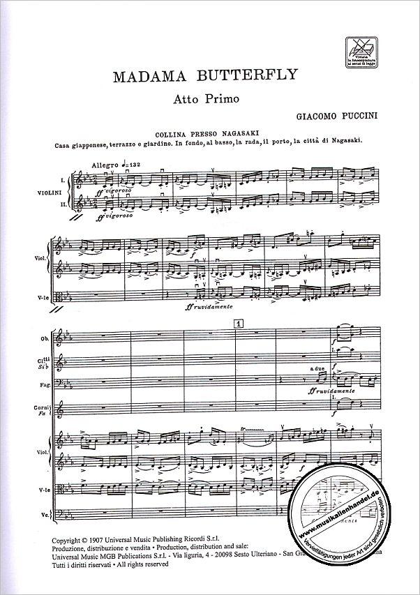 MADAMA BUTTERFLY - von Puccini Giacomo - ERPR 1353 - Noten