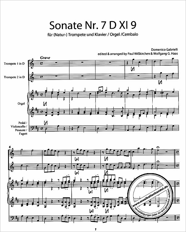 Notenbild für HAAS 170-8 - SONATE A DUE TROMBE