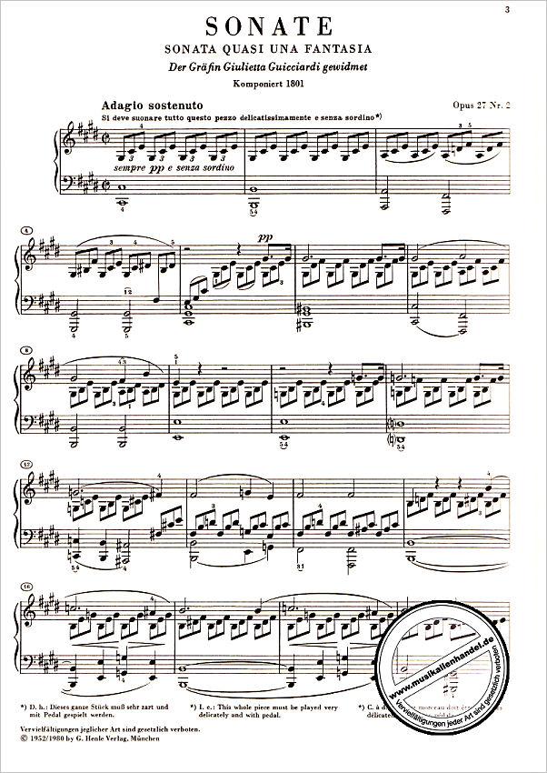 mondscheinsonate klavier noten