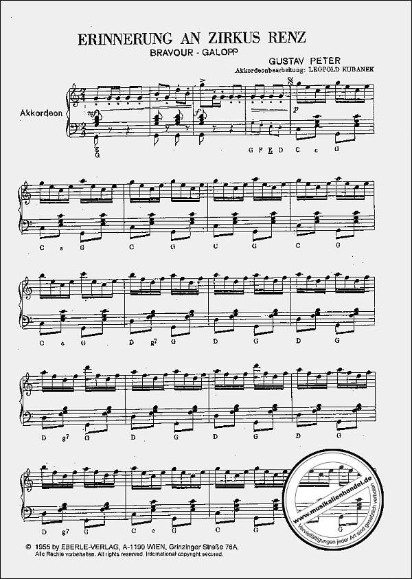 ERINNERUNG AN ZIRKUS RENZ - von Peter Gustav - WM 20243 - Noten